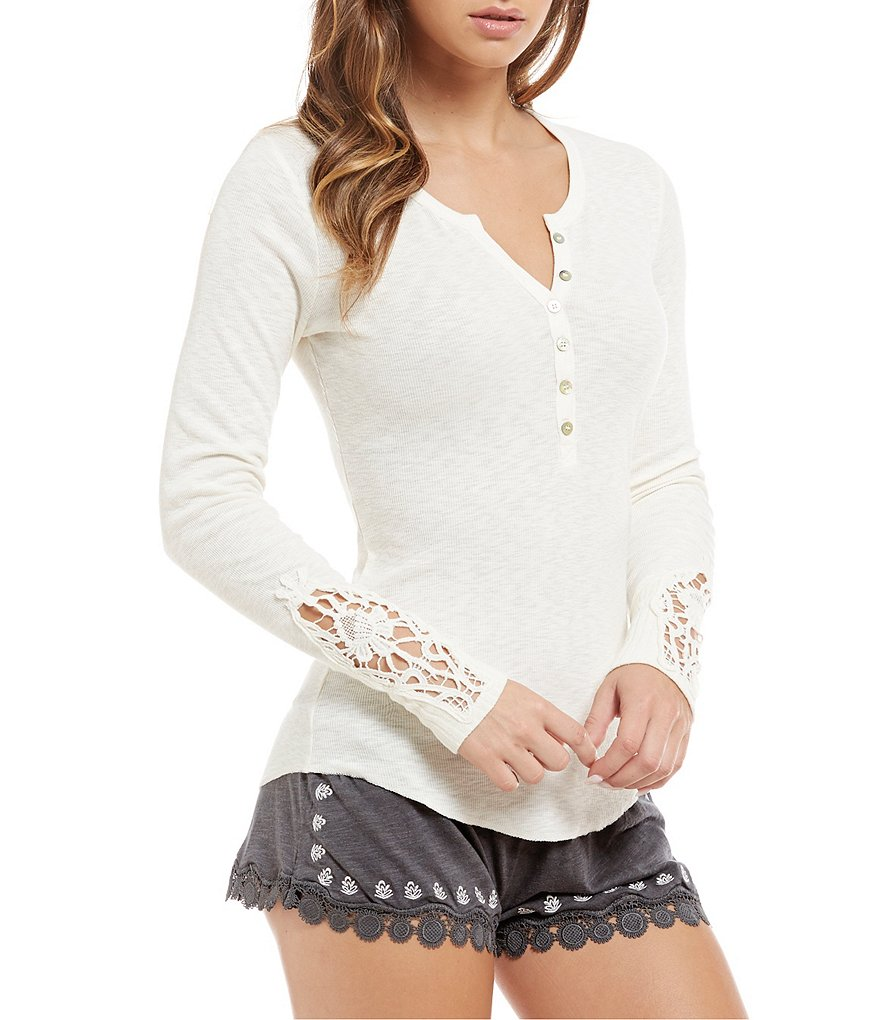 PJ Salvage Ribbed Slub Jersey & Crochet Henley Sleep Top