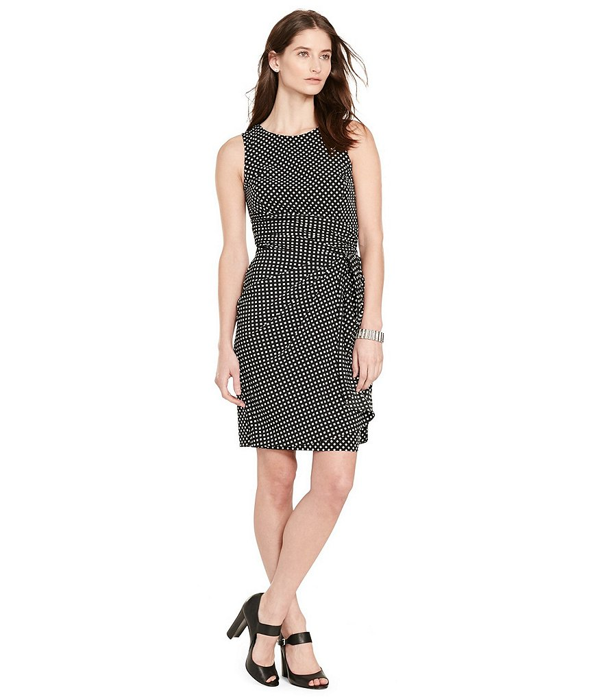 Lauren Ralph Lauren Polka-Dot Ruffle Crepe Dress