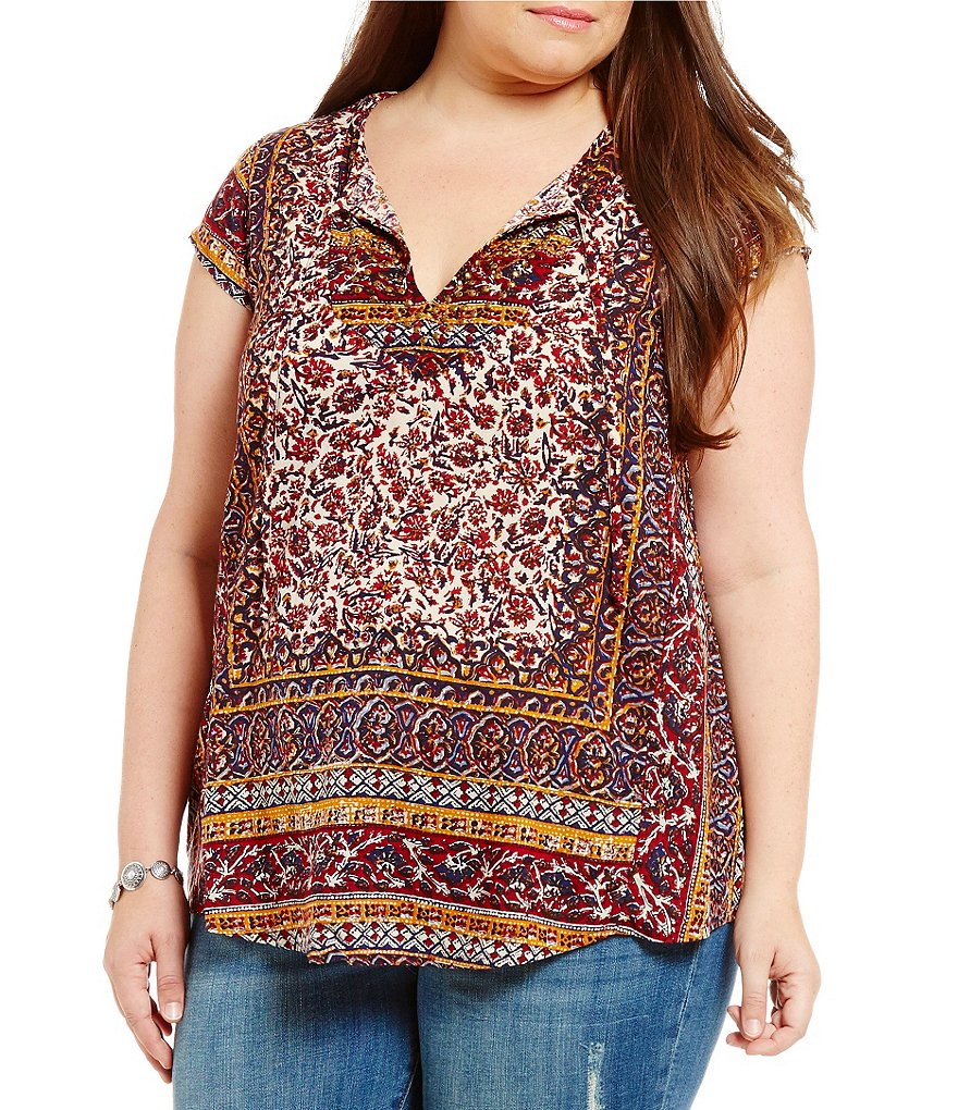 Lucky Brand Plus Border Print Top