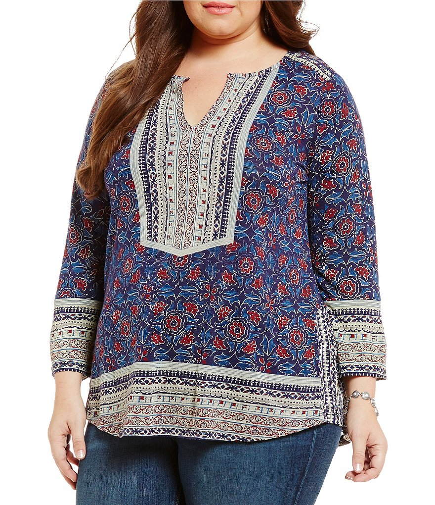 Lucky Brand Plus Block Floral Top