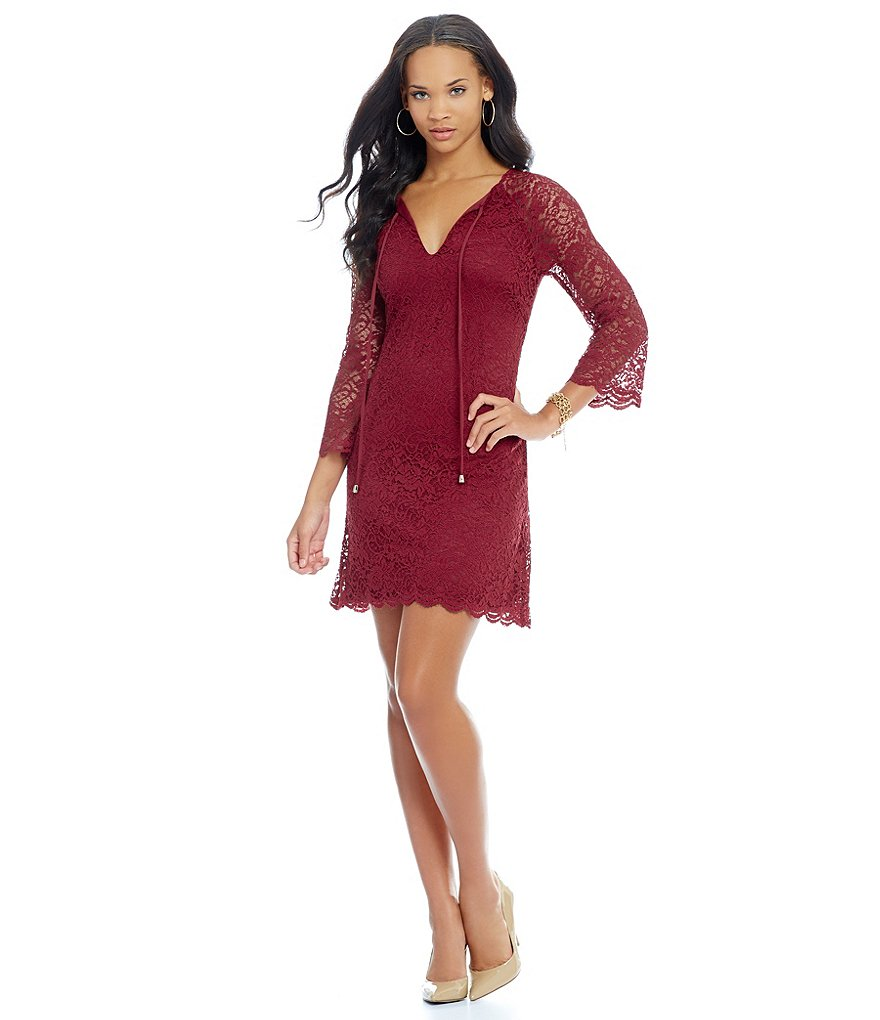 Jessica Simpson Tie Neck 3/4 Sleeve Lace Dress