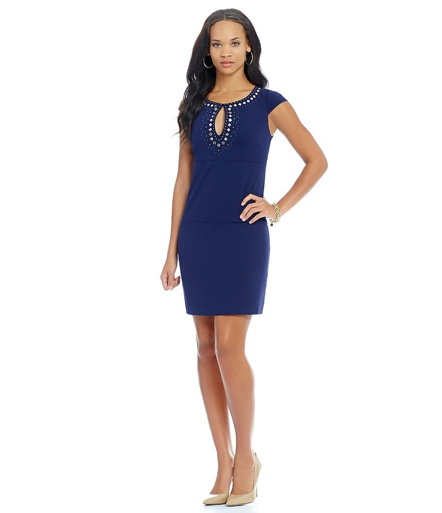 Jessica Simpson Cap Sleeve Key Hole Neck Studded Detail Dress