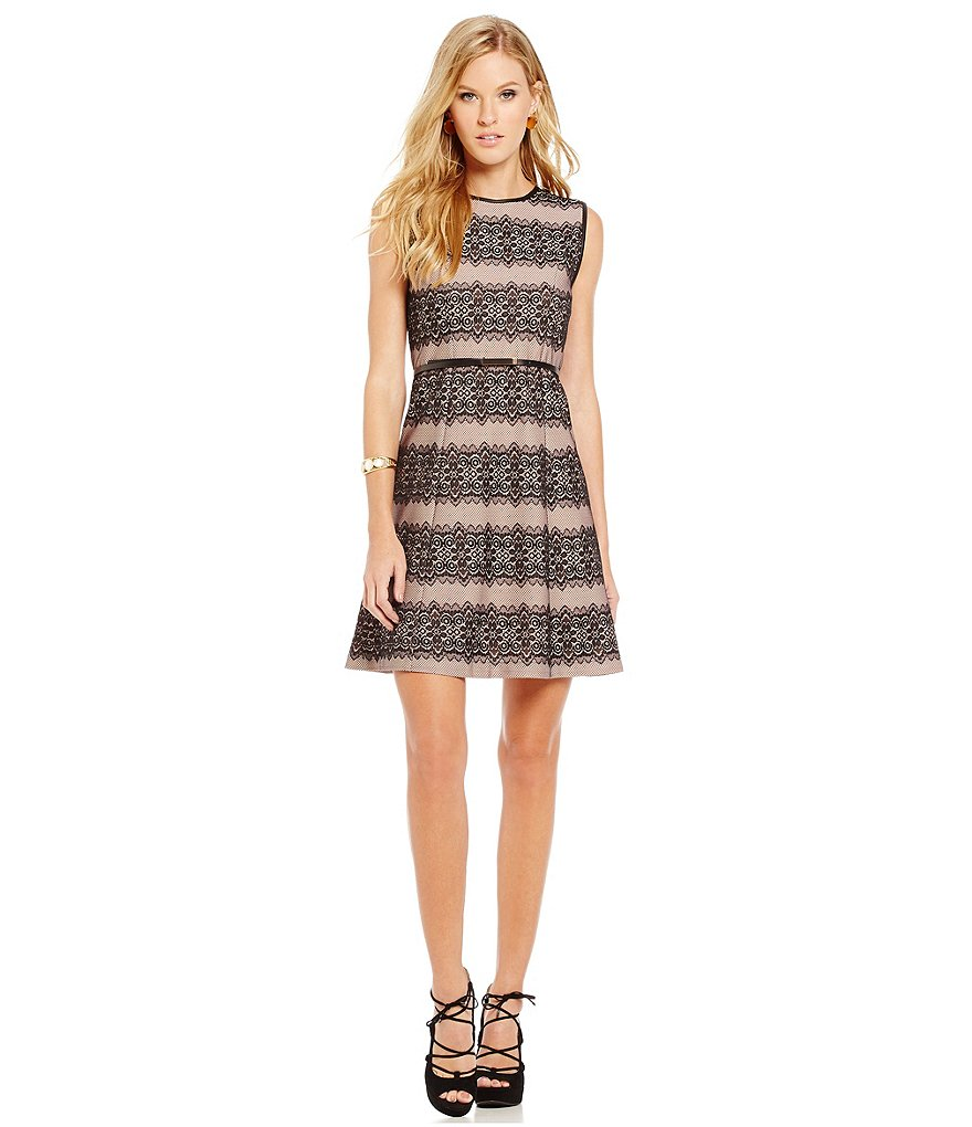 Jessica Simpson Sleeveless Striped Lace Fit-and-Flare Dress