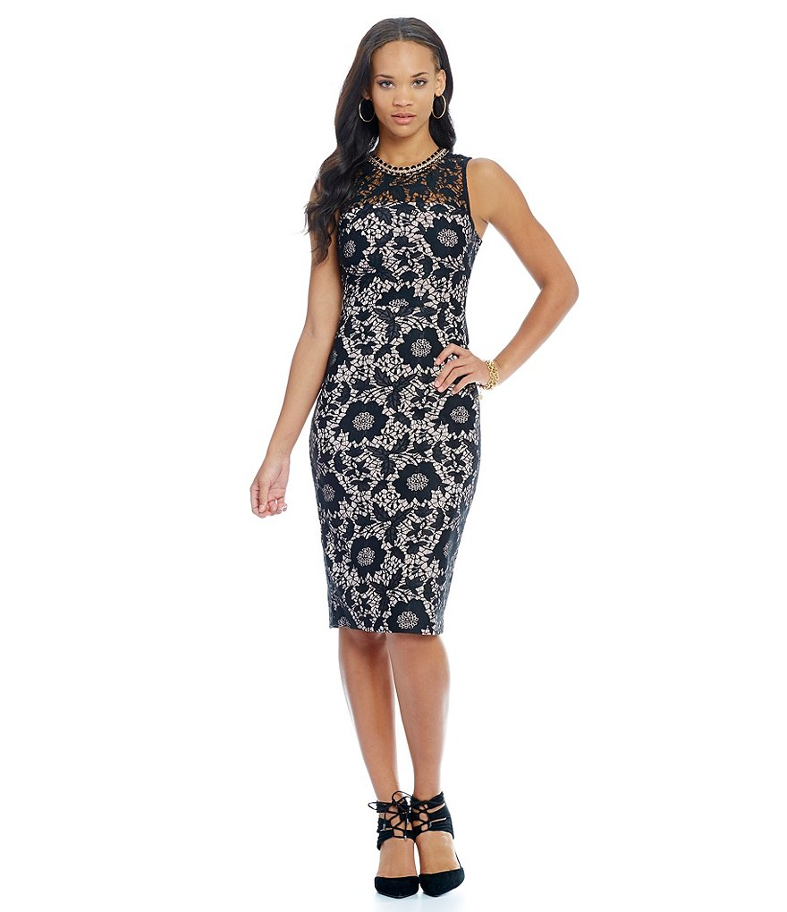 Jessica Simpson Jeweled Neck All Over Lace Midi Dress