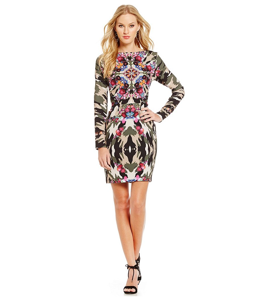 Nicole Miller Artelier Kaleidoscope Camo Stretch Crepe Dress