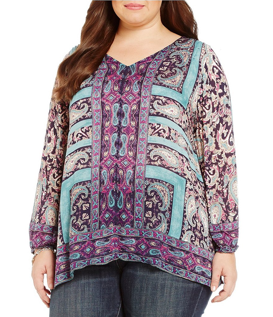Lucky Brand Plus Moroccan Border Blouse