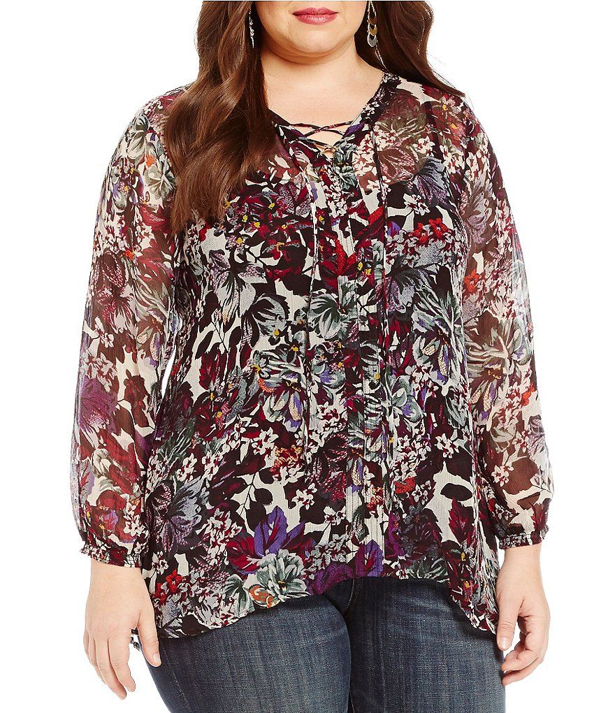 Lucky Brand Plus Floral Peasant Y-Neck Top
