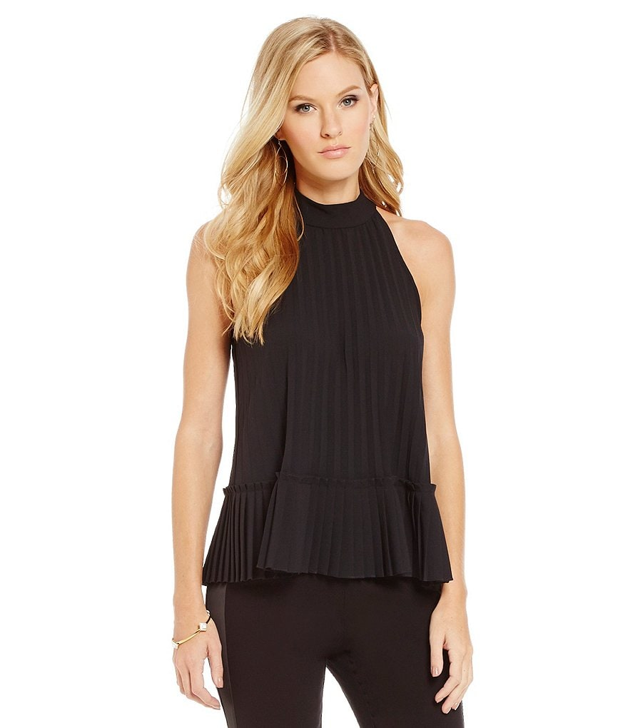 Nicole Miller Artelier Pleated Mock Neck Tank