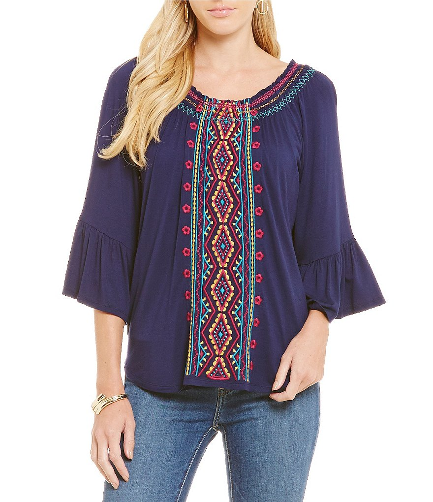 Cupio Embroidered Bell Sleeve Peasant Top