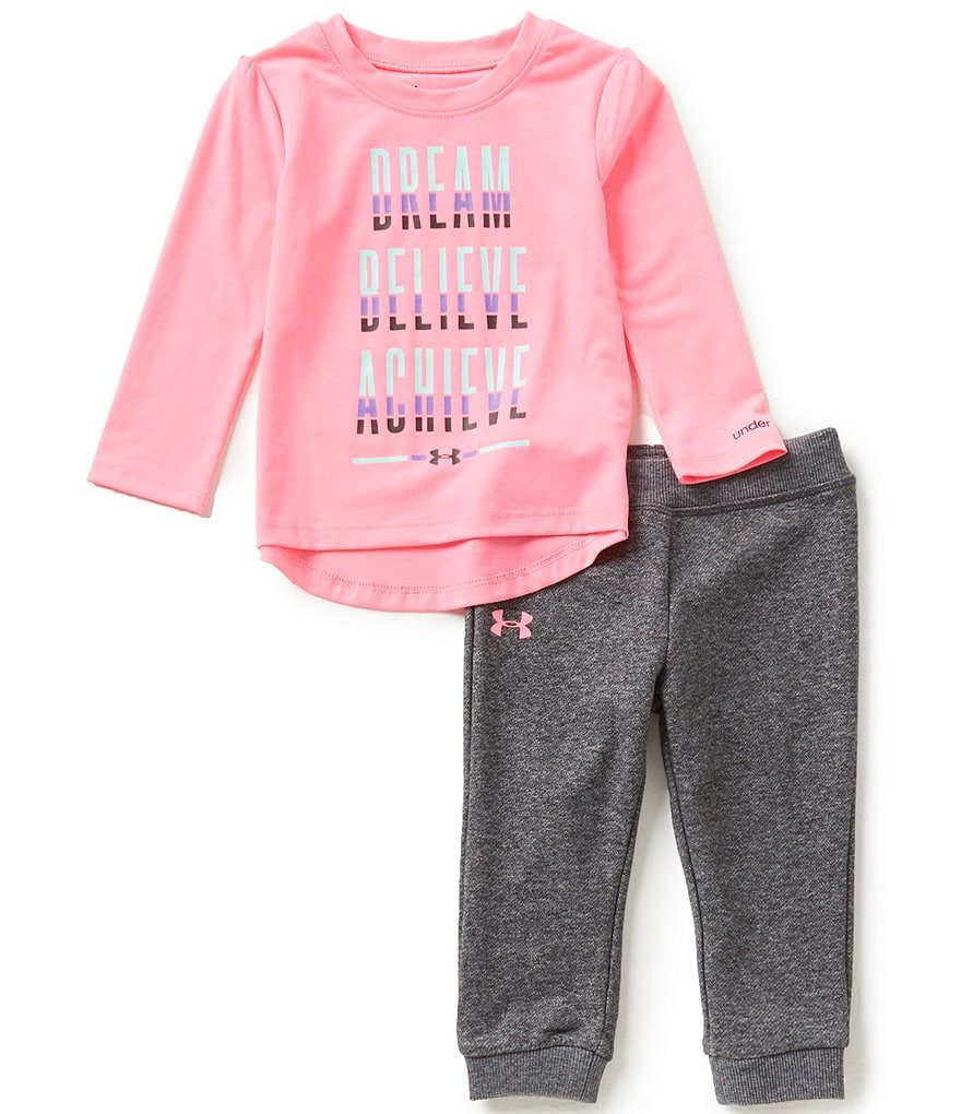 Under Armour Baby Girls 12-24 Months Dream, Believe, Achieve Long-Sleeve Jersey Tee & French Terry
