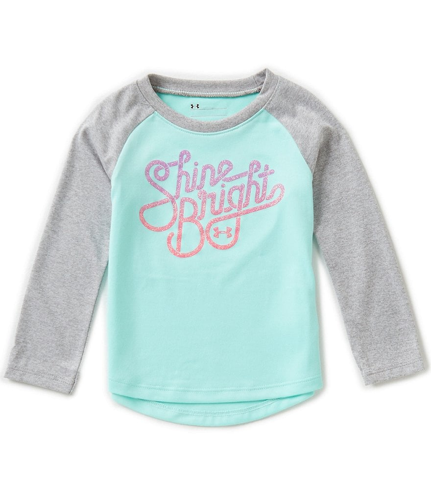 Under Armour Baby Girls 12-24 Months Shine Bright Raglan-Long-Sleeve Tee