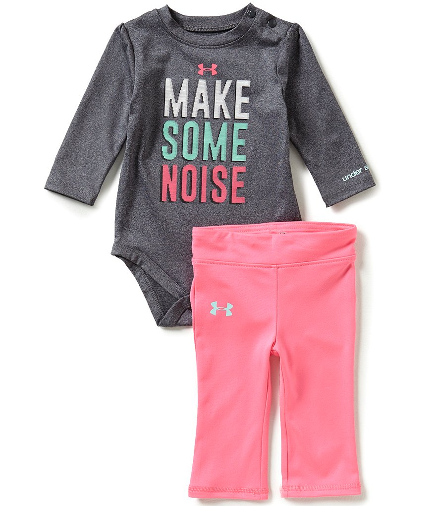Under Armour Baby Girls Newborn-12 Months Make Some Noise Long-Sleeve Bodysuit & Pant Set