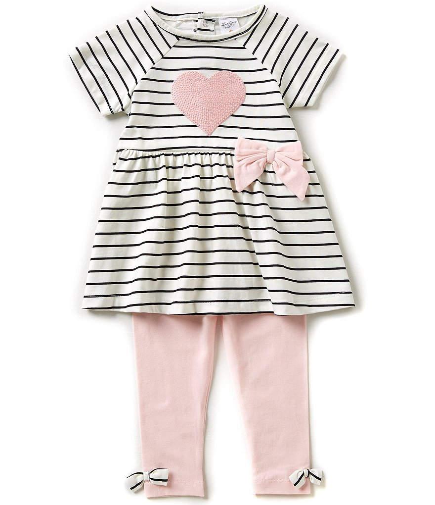 Starting Out Baby Girls 3-24 Months Sequin Heart-Appliqued Top & Leggings Set