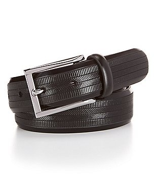 Cremieux Herringbone Embossed Leather Belt