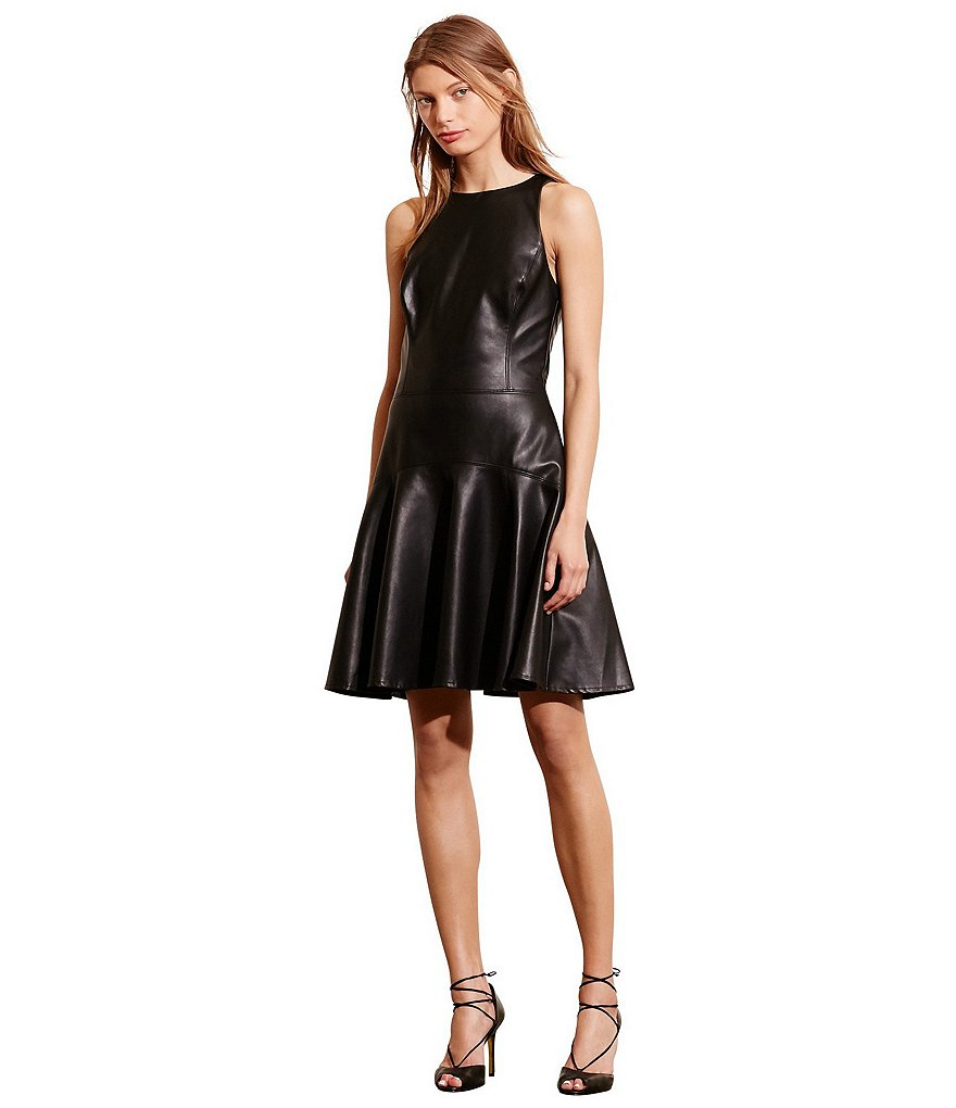 Lauren Ralph Lauren Faux Leather Racerback Dress