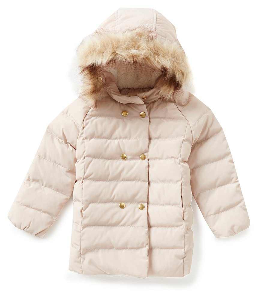 Starting Out Baby Girls 12-24 Months Faux-Fur Hooded Puffer Coat