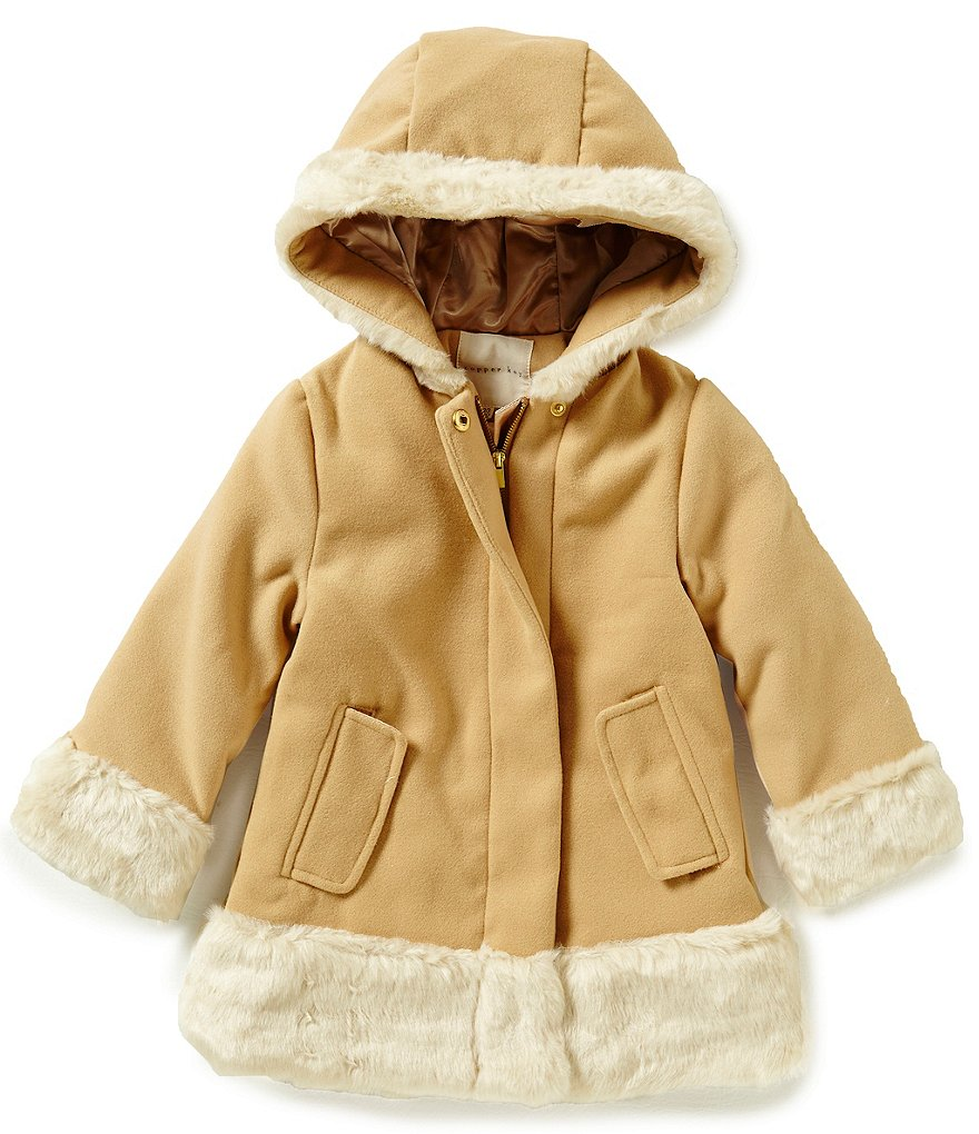 Starting Out Baby Girls 12-24 Months Faux Fur Trimmed Wool Coat