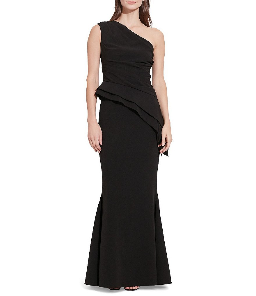 Lauren Ralph Lauren One-Shoulder Asymmetrical Peplum Evening Gown