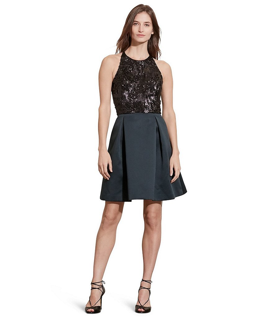 Lauren Ralph Lauren Beaded Bodice Fit-and-Flare Satin Party Dress