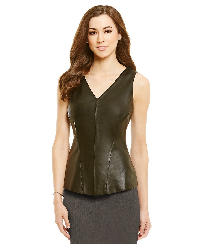Antonio Melani Fine Leather Thomas V-Neck Top