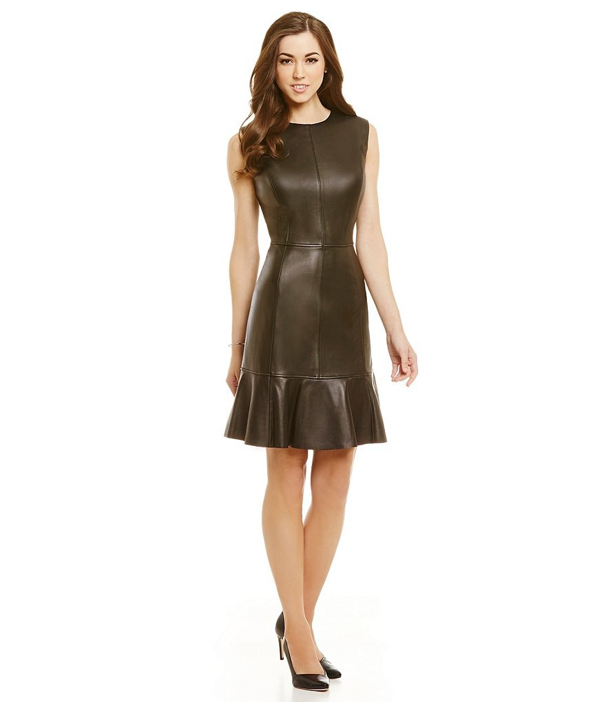 Antonio Melani Fine Leather Mila Flounce Dress