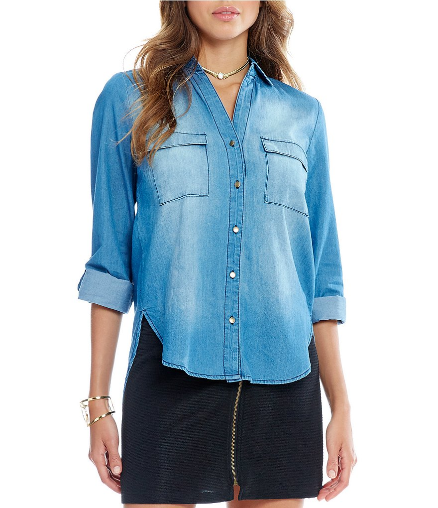 Takara Zippered-Back Chambray Shirt