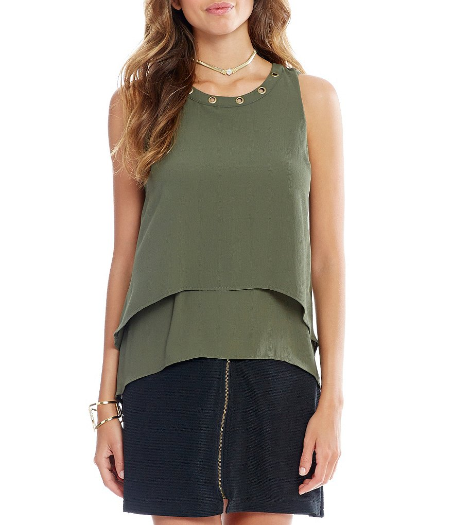 Takara Double-Layer High-Low Grommet Trim Tank Top