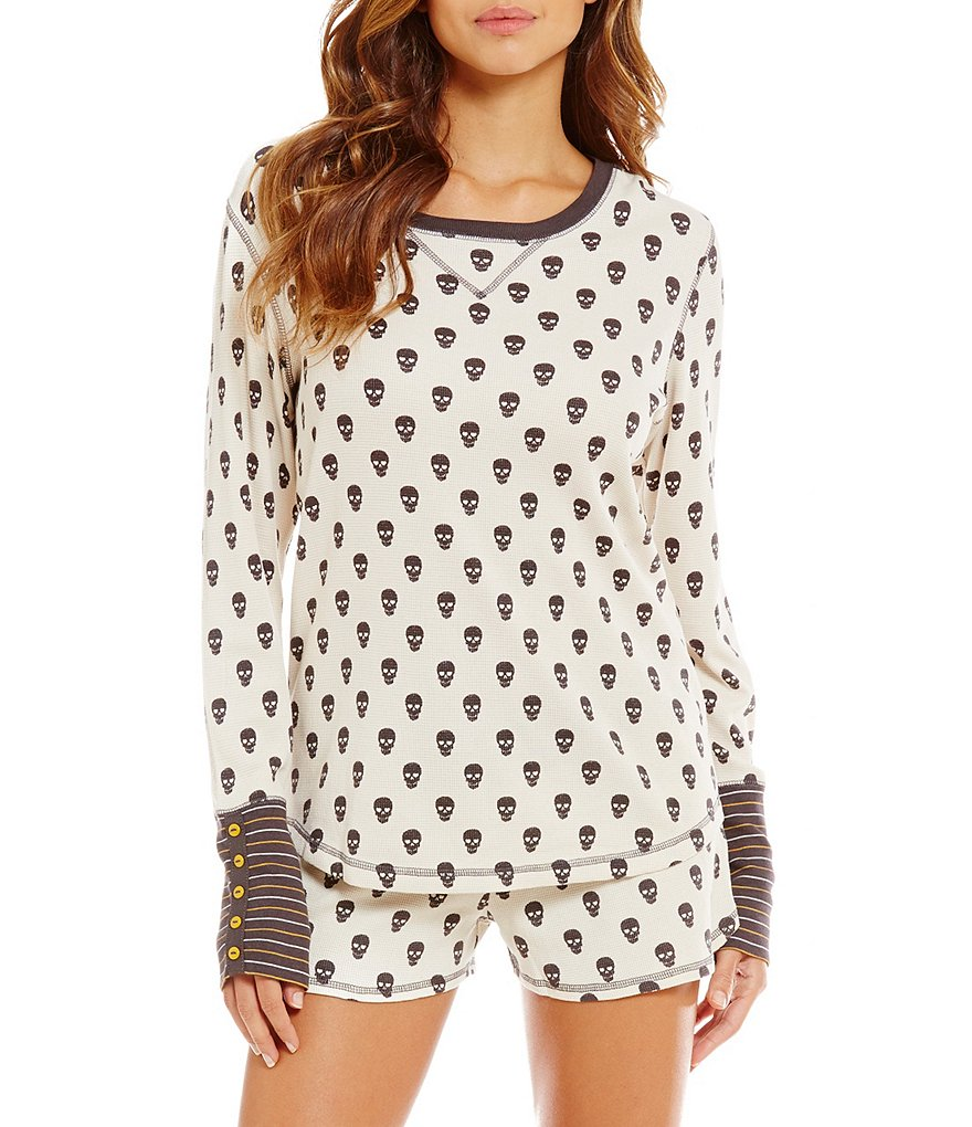 PJ Salvage Skull-Print Thermal Sleep Top