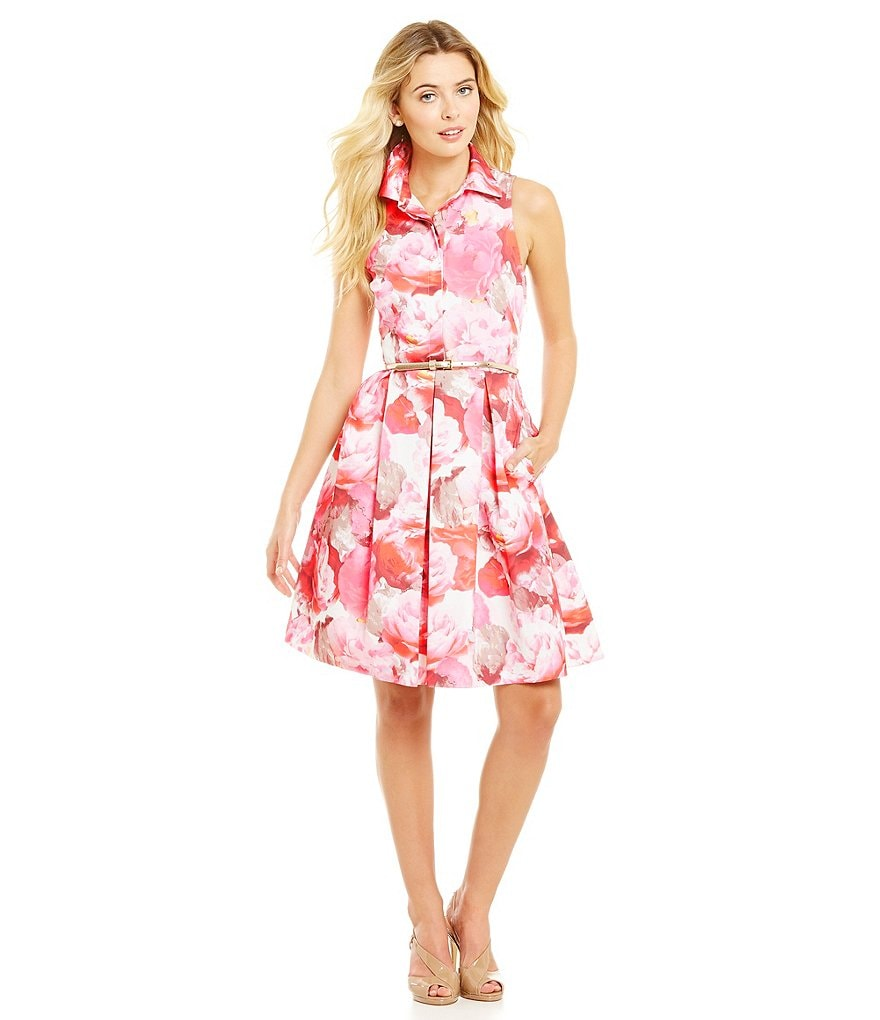 Eliza J Floral Print Fit-and-Flare Dress