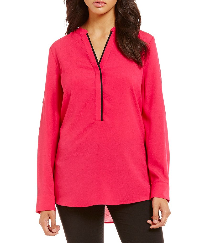 Calvin Klein Roll Sleeve Crepe De Chine Split V-Neck Tunic