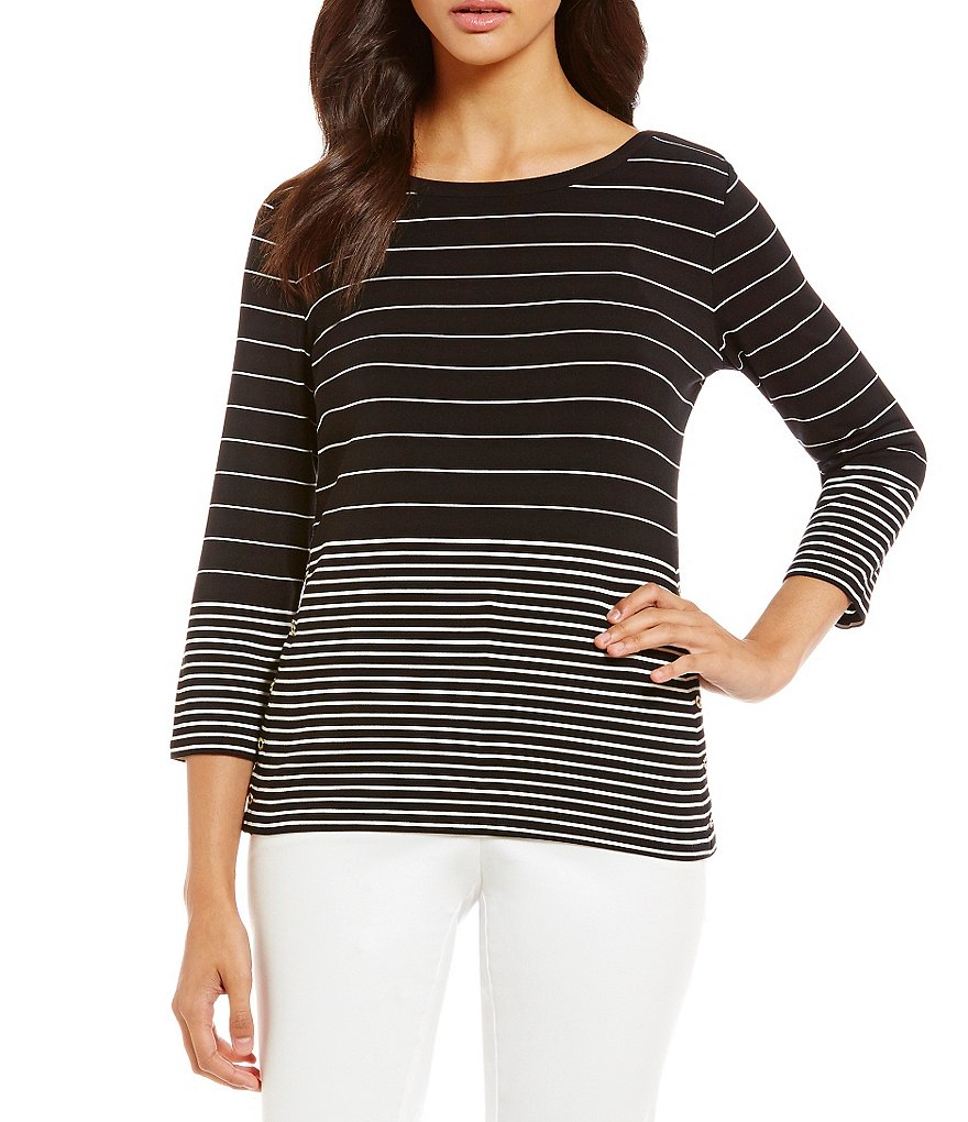 Calvin Klein Mixed Stripe Knit Jersey Boat Neck Tunic
