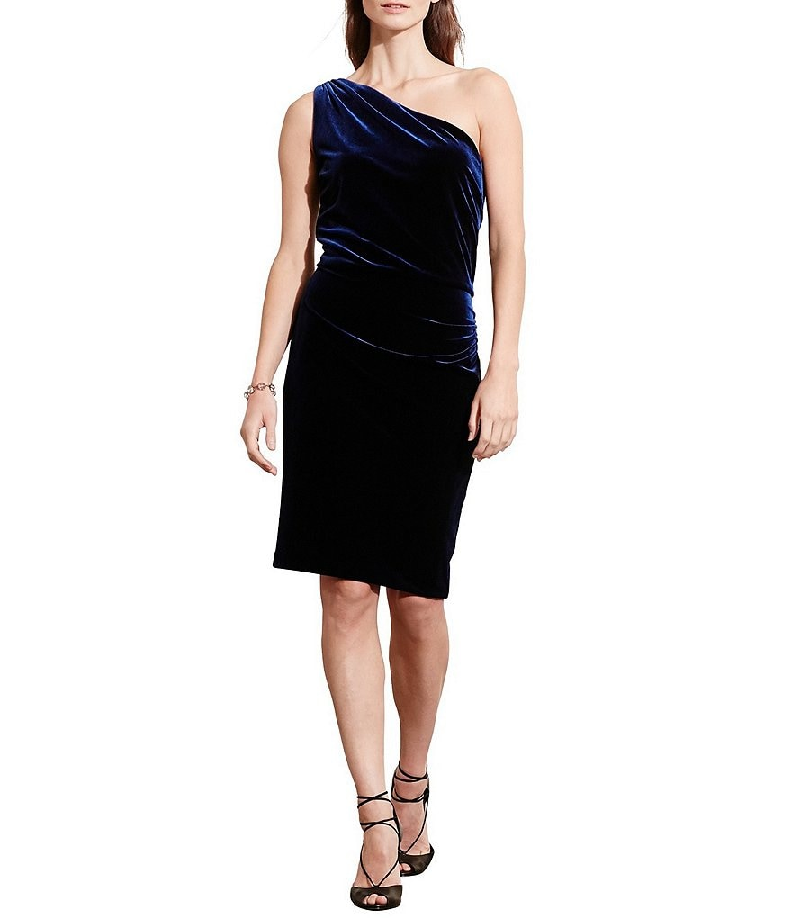 Lauren Ralph Lauren One-Shoulder Velvet Dress
