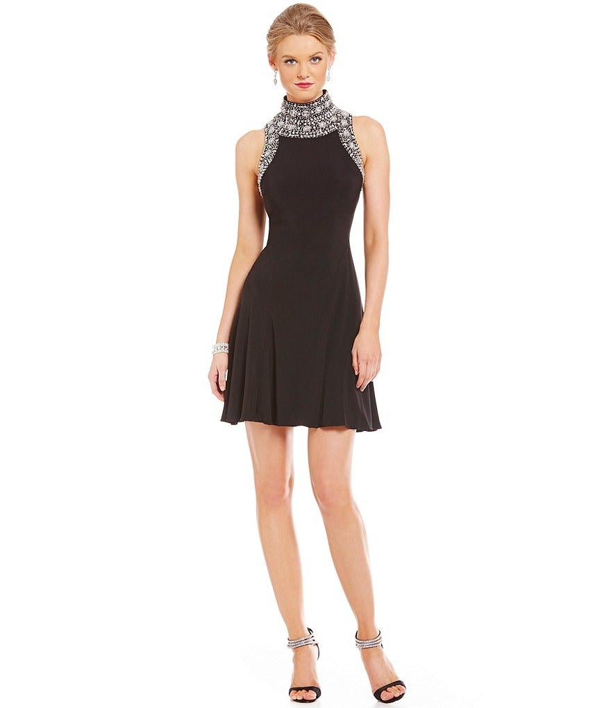 Betsy & Adam Fit-and-Flare Beaded Dress