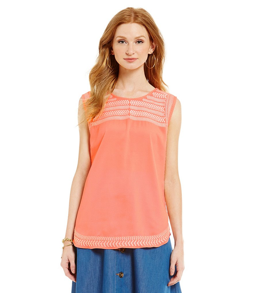 Gibson & Latimer Sleeveless Embroidered Blouse