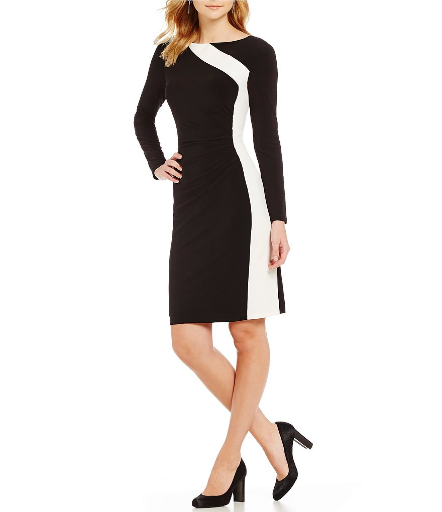 Lauren Ralph Lauren 2-Toned Long Sleeve Jersey Dress