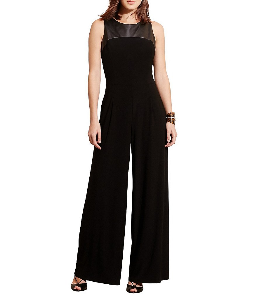 Lauren Ralph Lauren Chessington Faux-Leather Yoke Wide Leg Jumpsuit