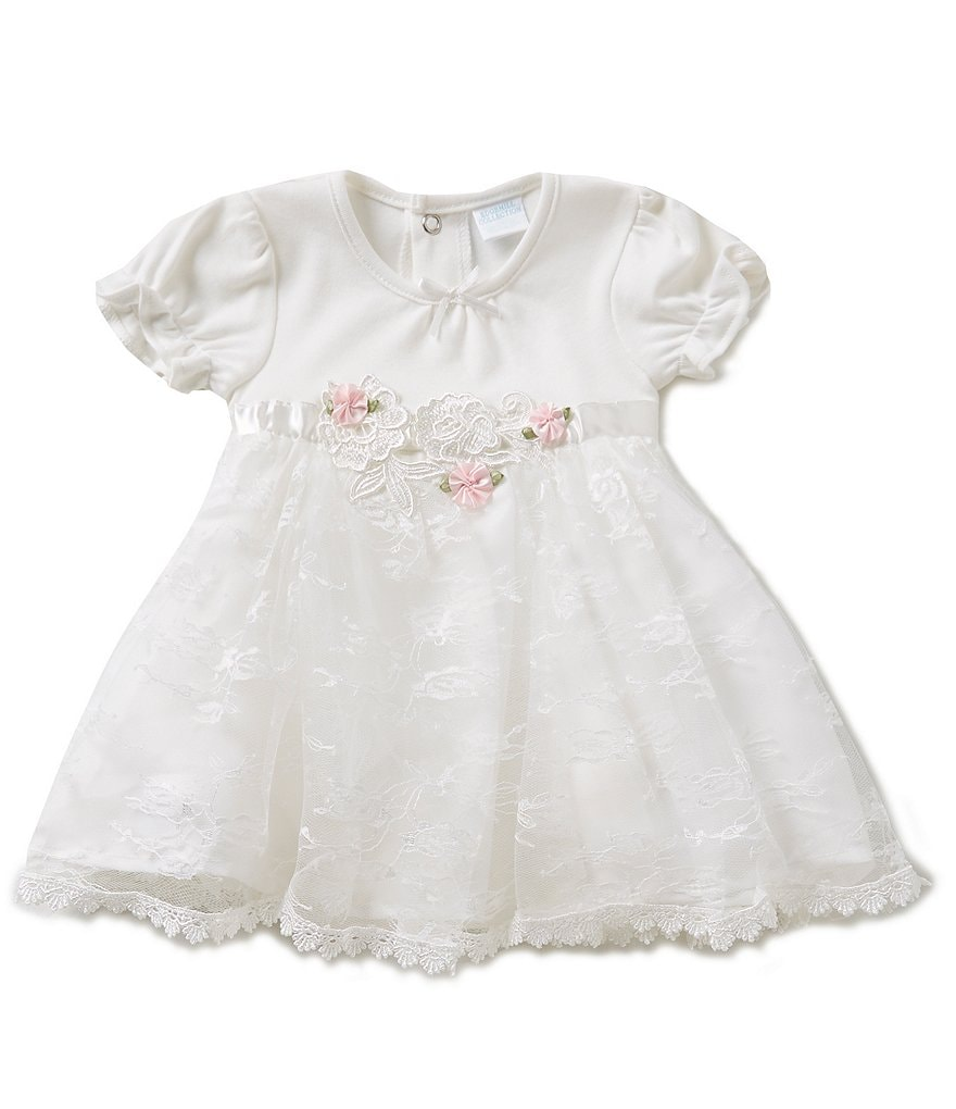 Edgehill Collection Baby Girls Newborn-6 Months Rosette Bodysuit