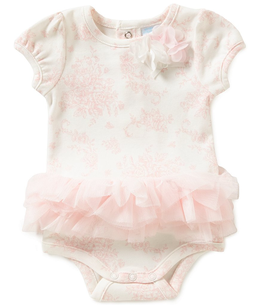 Edgehill Collection Baby Girls Newborn-6 Months Floral Toile Bodysuit