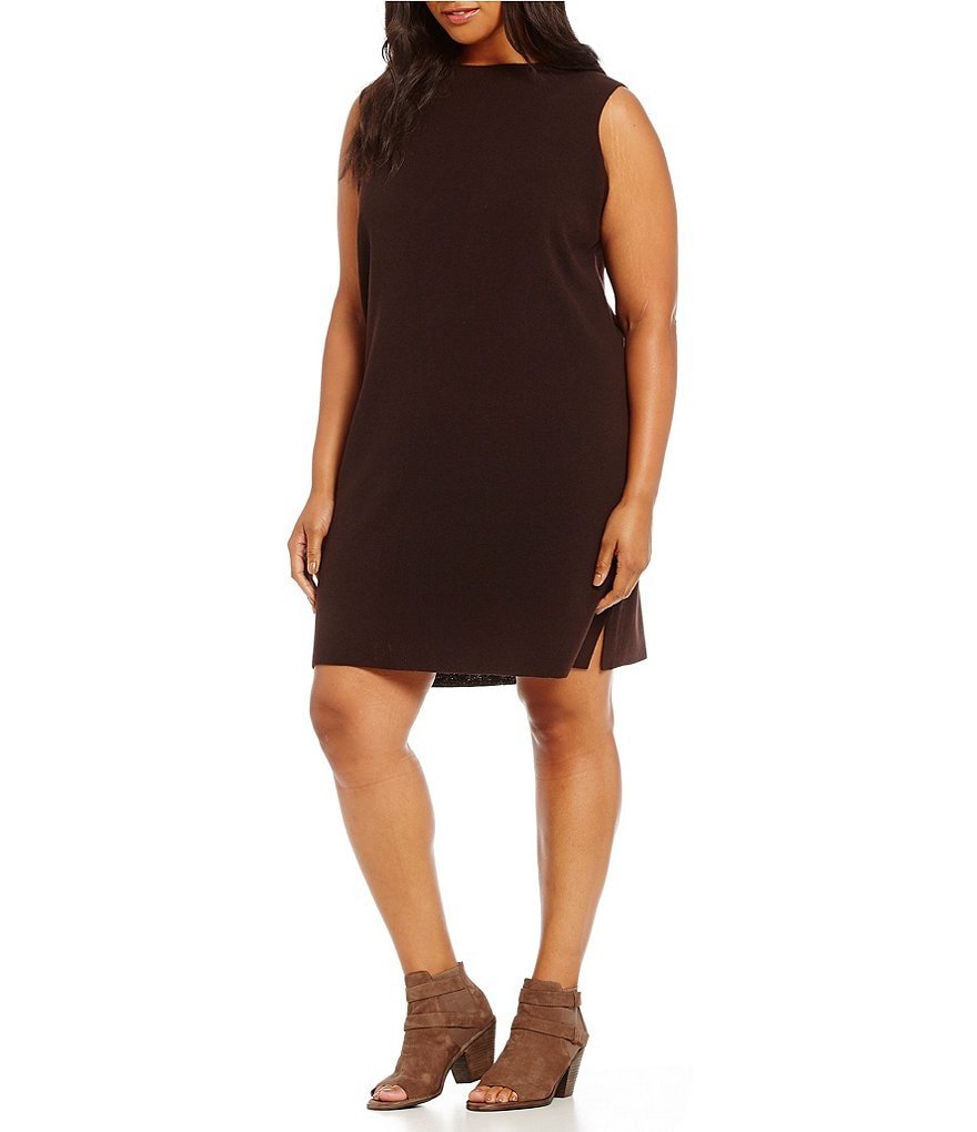 Eileen Fisher Plus Funnel Neck Knee Length Dress