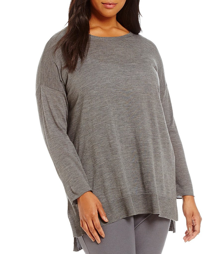 Eileen Fisher Plus Round Neck Boxy Tunic