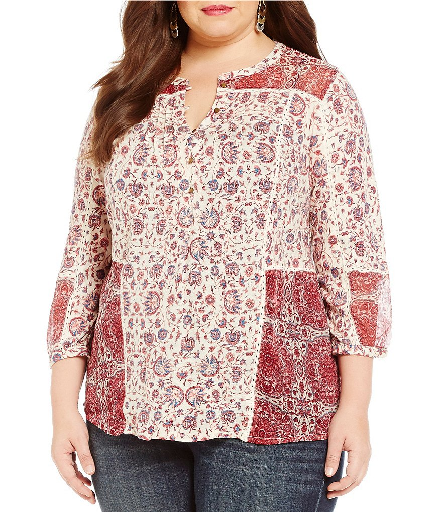 Lucky Brand Plus Woven Mixed Floral Print Top