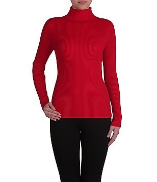 Peter Nygard Ribbed Funnel Neck Top