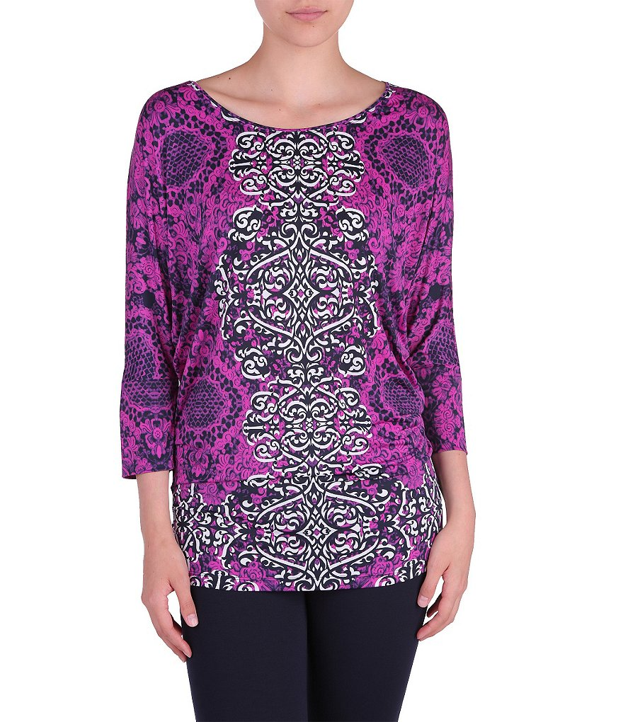 Peter Nygard Round Neck Dolman Sleeve Printed Top
