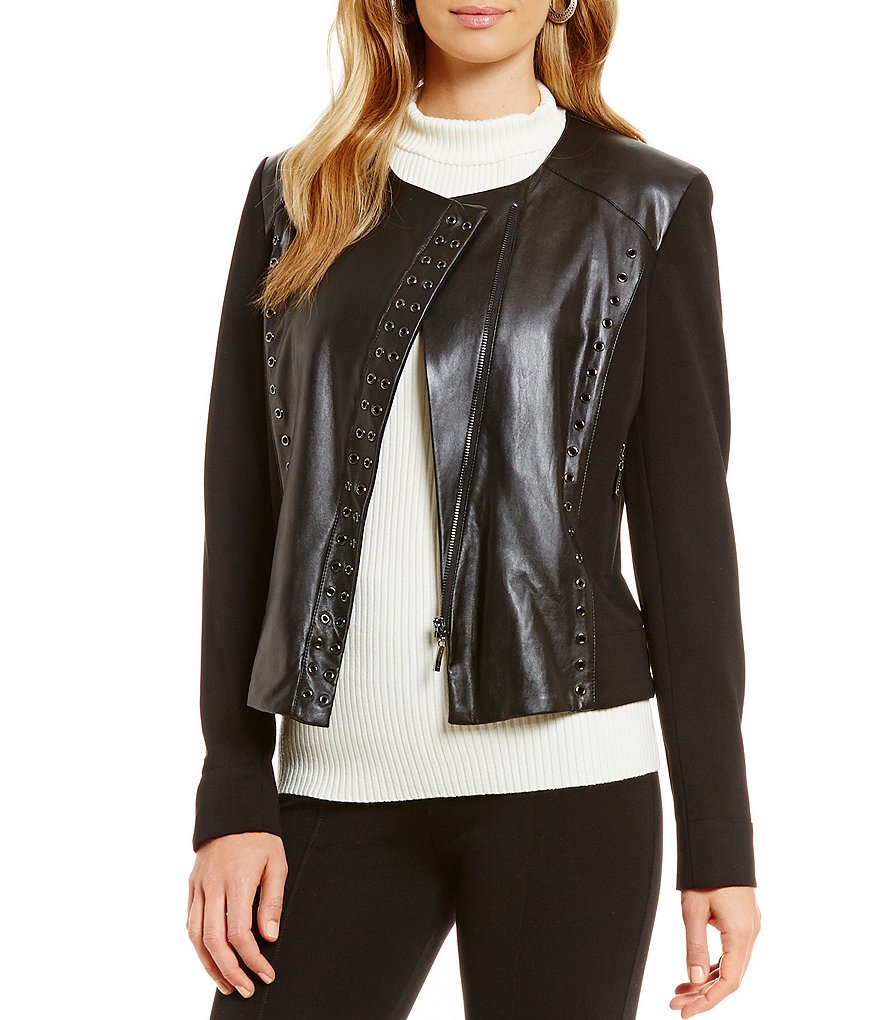 Peter Nygard Faux Leather Moto Jacket