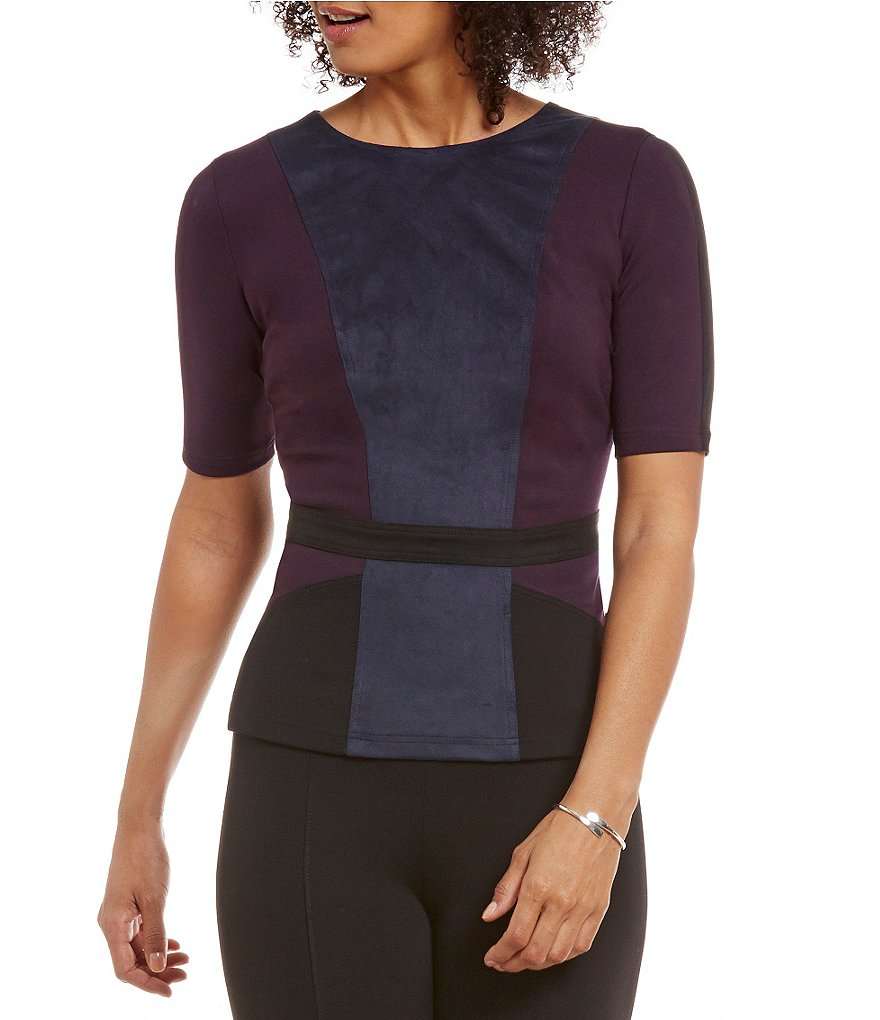 Peter Nygard Faux-Suede Panel Color Block Short Sleeve Peplum Top