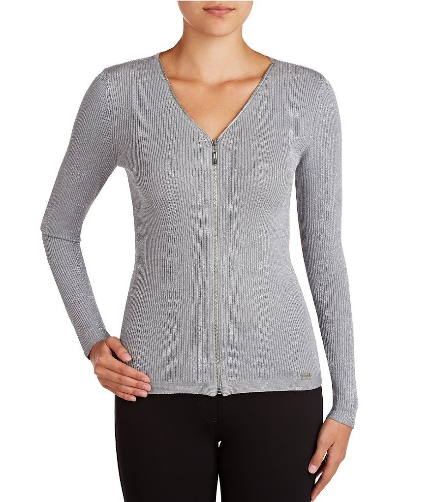 Peter Nygard Ribbed Zip Front Cardigan