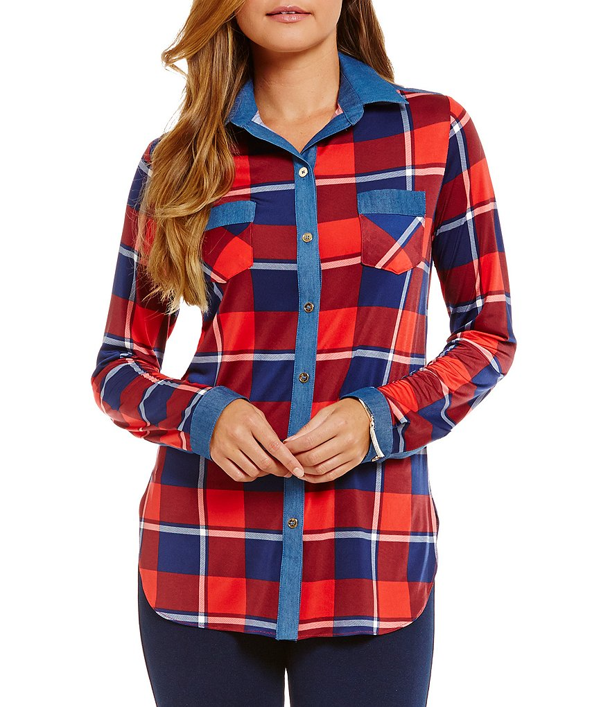 Peter Nygard Plaid Button Front Denim Blouse