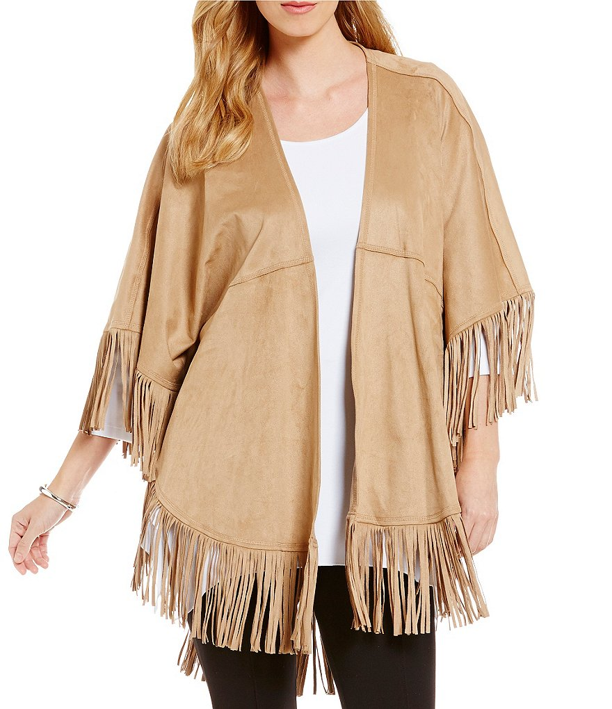 Peter Nygard Faux Suede Fringe Poncho