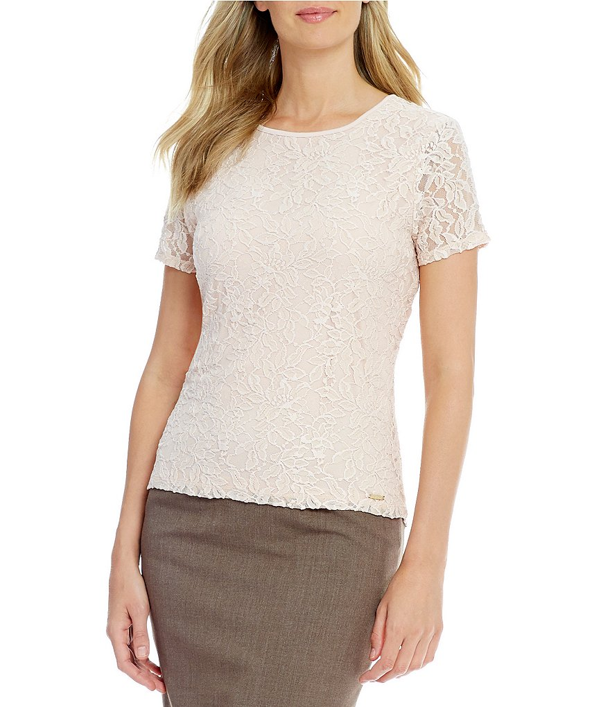Calvin Klein Floral Lace Overlay Knit Top