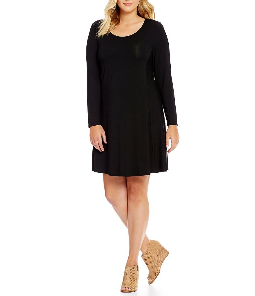 Intro Plus Long Sleeve Solid Scoop Neck Swing Dress